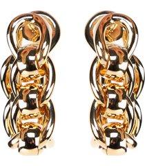 bottega veneta metal chain hoop earrings