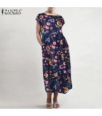 zanzea vestido de manga corta para mujer vestido largo de verano con caftán largo para mujer tallas grandes -azul marino