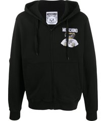 moschino embroidered teddy bear hoodie - black