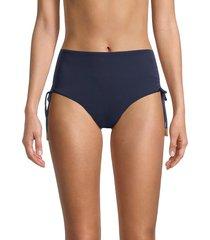 sperry women's high-waist bikini bottom - deep sea - size l