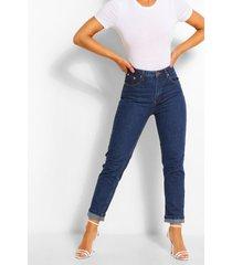 turn up mid rise mom jeans, indigo