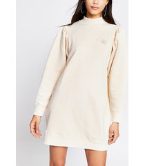 river island womens beige long pleated sleeve sweatshirt dress