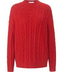 trui van wol en katoen met lange mouwen van peter hahn rood