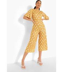 culotte jumpsuit met stippen en open rug, mustard