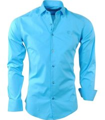 ferlucci italiaans heren overhemd effen napoli stretch - turquoise