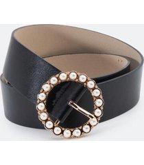 jasmine pearl circle belt - black