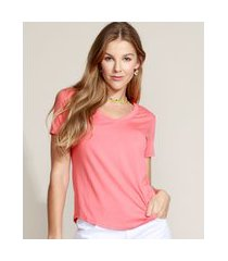camiseta feminina básica manga curta decote v coral
