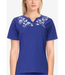 alfred dunner women's missy savannah casual floral embroidered short sleeve top