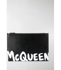 alexander mcqueen contrast logo print clutch