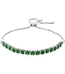 effy women's 14k white gold diamond & emerald bracelet