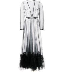 alchemy sheer tulle-hem maxi dress - black