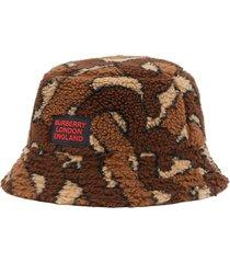 burberry monogram fleece bucket hat - brown