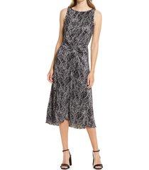 women's halogen sleeveless plisse midi dress, size x-large - black