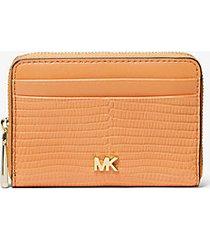mk portafoglio piccolo in pelle stampa lucertola - cider - michael kors