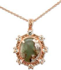 "le vian peacock aquaprase (12 x 10mm) & multi-gemstone (5/8 ct. t.w.) 20"" pendant necklace in 14k rose gold"