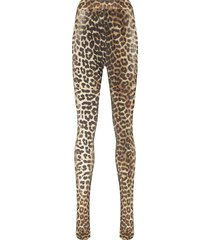 ganni leopard print tights - black