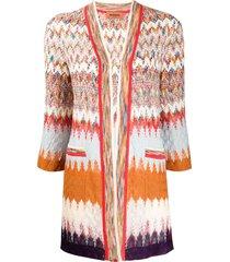 missoni long line crochet-knit cardigan - brown