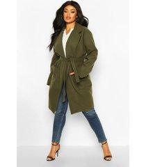 plus heavy wool look wrap duster coat, khaki