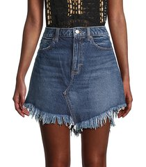 bailey fringe denim mini skirt
