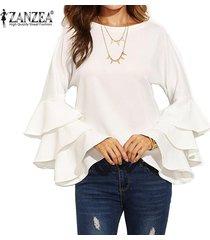 zanzea s-5xl para mujer primavera otoño camisa de manga larga sólido de bell blusas femininos señoras flojas mariposa fluncing colmena de blusas (blanco) -blanco