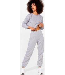 womens crew's a crowd cropped sweatshirt and joggers set - grey