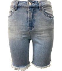 dollhouse juniors' frayed high rise denim bermuda shorts