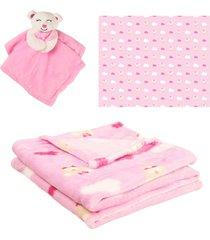 manta com naninha para beb㪠- princesa rosa - unik toys - multicolorido - dafiti