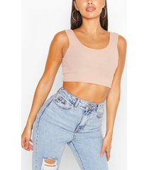 petite rib basic sleeveless crop top, stone