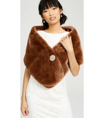 adrianna papell faux-fur embellished shawl