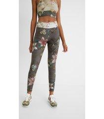 print leggings elastic waist - green - m