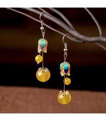 orecchini pendenti orecchio vintage pendenti in agata calcedonio doppia pendenti con gemme e pendenti per le donne