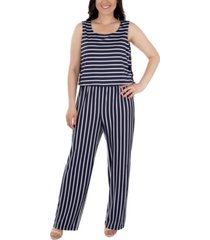 women's sleeveless striped jumpsuit