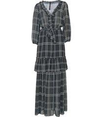 vestido carmim longo emiko preto/branco