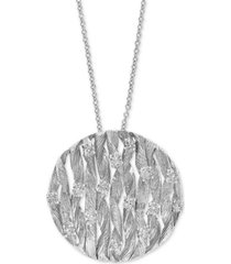 d'oro by effy diamond textured circle pendant (3/4 ct. t.w.) in 14k white gold