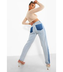 contrasterende mom jeans met hoge taille, bleach wash