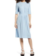 women's aware by vero moda pleat waist jersey dress, size medium - blue