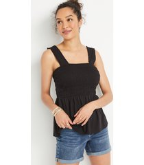 maurices womens black smocked babydoll tank top