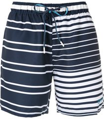 boss stripe print swim shorts - blue