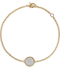 cable collectibles' diamond 18k yellow gold charm bracelet