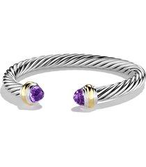 david yurman cable classics bracelet with semiprecious stones & 14k gold, 7mm, size medium in amethyst at nordstrom
