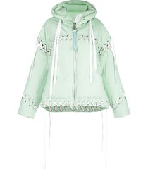 khrisjoy contrast lace-up puffer jacket - green