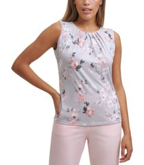 calvin klein floral-print pleated-neck top