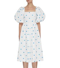 balloon sleeve cut out back square neck dress