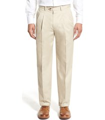 men's big & tall nordstrom men's shop classic smartcare(tm) supima cotton pleated dress pants, size 44 x 32 - brown