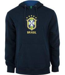 blusão de moletom do brasil 19 com capuz - masculino - azul escuro