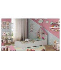 cama casinha branca e rosa gelius