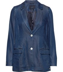 ams blauw chic denim tencel blazer blazer colbert blauw scotch & soda