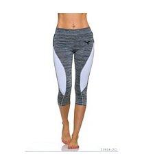 3/4-leggings grijs / wit