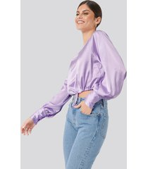 na-kd party drawstring detail satin blouse - purple
