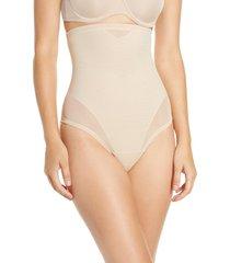 women's tc sheer inset high waist shaper thong, size medium - beige